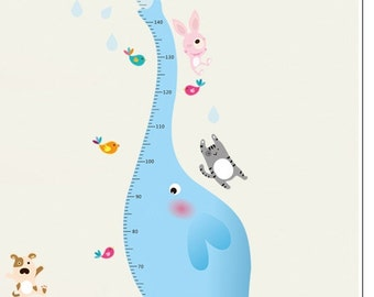 Height Chart - Blue Elephant wall sticker / wall decal - AW9020
