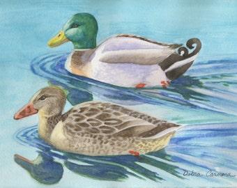 Mallard Duck Couple, Watercolor Painting