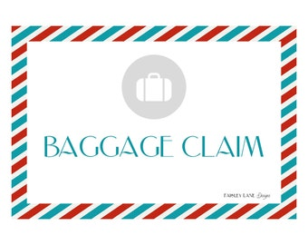 "Baggage Claim Sign 8.5x11"" - Vintage Airplane Party Package"