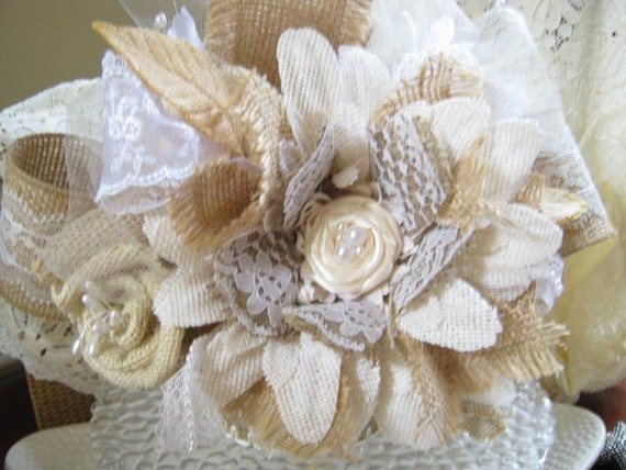 burlap and lace wedding cake toppers burlap lace flower cake topper shabby rustic country 12254