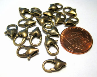 10pcs Bronze Tone Heart Lobster Claw Clasps 12x7mm Jewelry Supplies