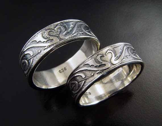 Dragon Wedding Ring Set Silver Celtic Wedding By