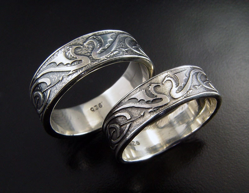 dragon wedding ring set silver celtic wedding by With dragon wedding ring sets