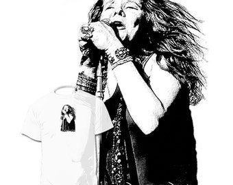 Janis Joplin T shirt  Jimmy Hendrix  Drawing of your favorite artist available