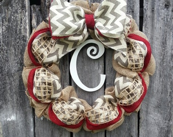 Chevron Burlap Wreath, Christmas Wreath, Winter Wreath, Summer Wreath, Fall Wreath, Initial Wreath, Door Wreath, Burlap Christmas Wreath