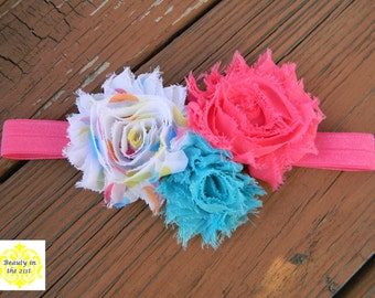 Pink and Blue with Spring Dots Headband