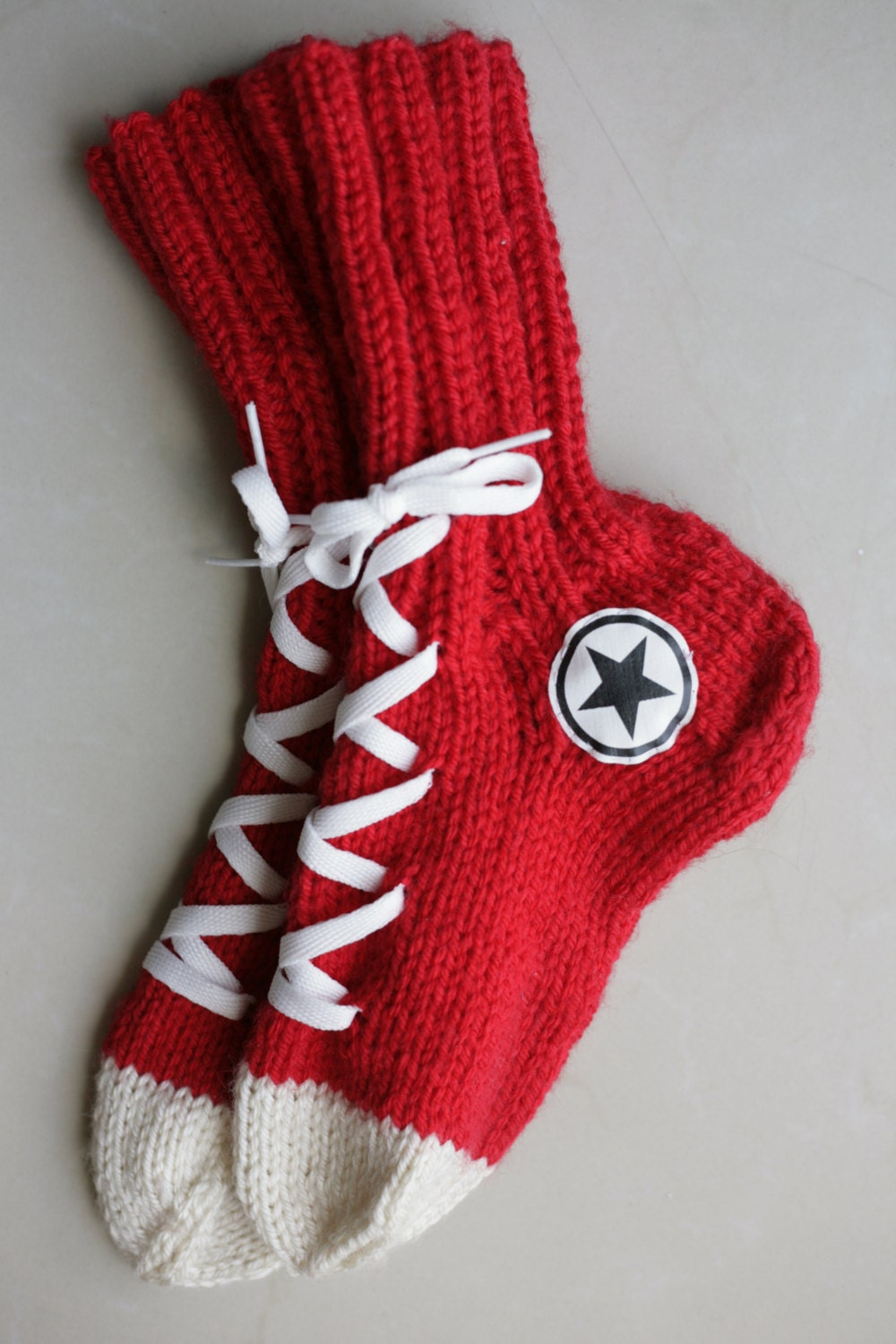 Knitting Pattern For Converse Socks : Hand Knit Converse socks Red Handmade Warm Socks Hipster