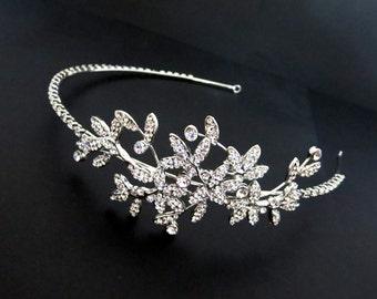 Bridal headband, Wedding headpiece, Side accent headband, Rhinestone headband, Wedding accessory, Bridal hair vine, Leaf hair piece