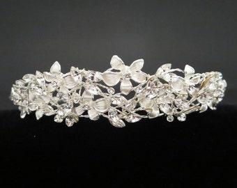 Wedding headpiece, Bridal headband, Wedding hair vine, Crystal rhinestone headpiece, Floral hair piece, Wedding hair accessory, Bridal tiara