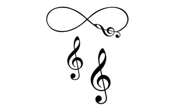 Items Similar To Set Of 3 Musical Infinity Amp Treble Clef Temporary Tattoo On Etsy