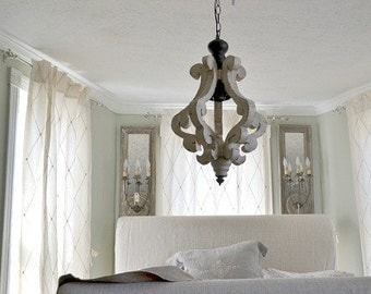 Antiqued White Cottage Distressed Chandelier/Pendant/Shabby Chic/French Country/Custom to Paint