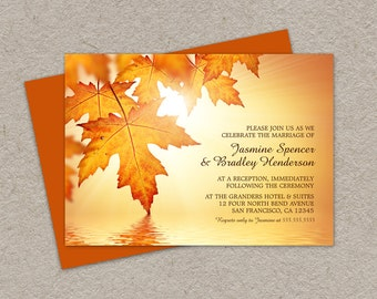 DIY Printable Fall Wedding Reception Invitation With Orange Leaves, Fall Leaves Reception Invitations, Autumn Wedding Reception Invites