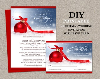 DIY Printable Christmas Wedding Invitations With RSVP Cards, Unique Christmas Wedding Invitation Set With Red Ornament