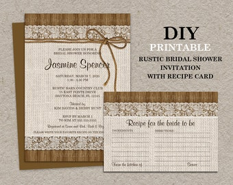 DIY Printable Rustic Bridal Shower Invitation With Recipe Card, Burlap And Lace Bridal Shower Recipe Cards