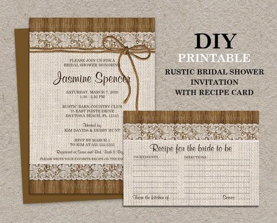 Diy Printable Rustic Bridal Shower Invitation With Recipe