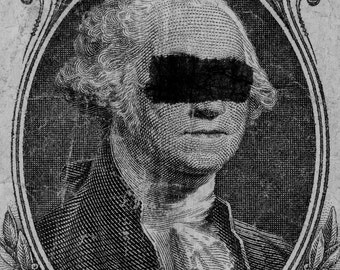 George Washington: Photography Print, Defaced Money, Portrait, USA, One Dollar Bill, Crossed Out, B&W, 5x7, 8x10, Snapshot, Polaroid