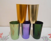 Set of Five Bascal Aluminum Cups - Purple, Green, Yellow Aluminum Glasses - Colorful Aluminum Cups
