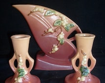 Roseville Snowberry  - pink  - candlesticks and vase - PRICE INCLUDES SHIPPING