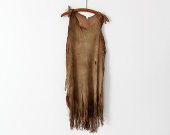 vintage Native American dress,  buckskin leather tunic dress
