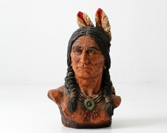 vintage Indian bust,  V. Kendrick Native American statue