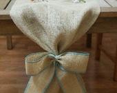 Burlap Table Runner, Plain with Burlap Bow, Colored Thread, Rustic Wedding, Wedding Table Runner, Party Decoration, Custom Length Av
