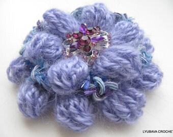 CROCHET BROOCH, Lavender Flower Brooch, Mohair Crochet Flower, Winter Flowers, Crochet Gifts, Handmade Crochet Jewelry, Lyubava Crochet