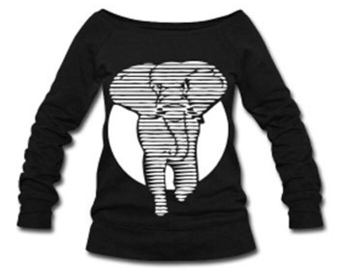 African Elephant Wide Neck Off Shoulder Slouchy Women's Sweatshirt - Black