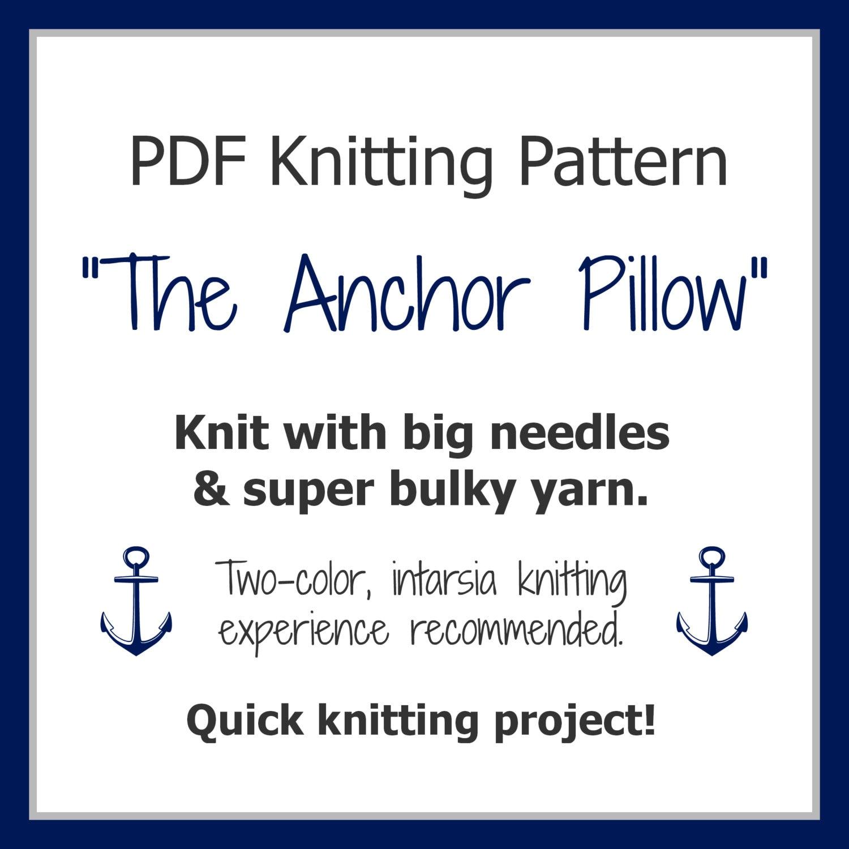 Nautical Cushion Knitting Pattern : Pillow KNITTING PATTERN / Cushion / Anchor / Nautical / Quick