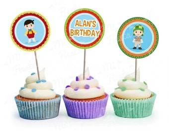 El chavo del ocho, Chaves Inspired Birthday Party Circles to make Cupcake Toppers, Digital Download DIY Personalized Printable