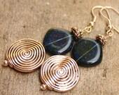 Sapphire and Sterling Silver Earrings - Boho Earrings - Czech Glass Earrings