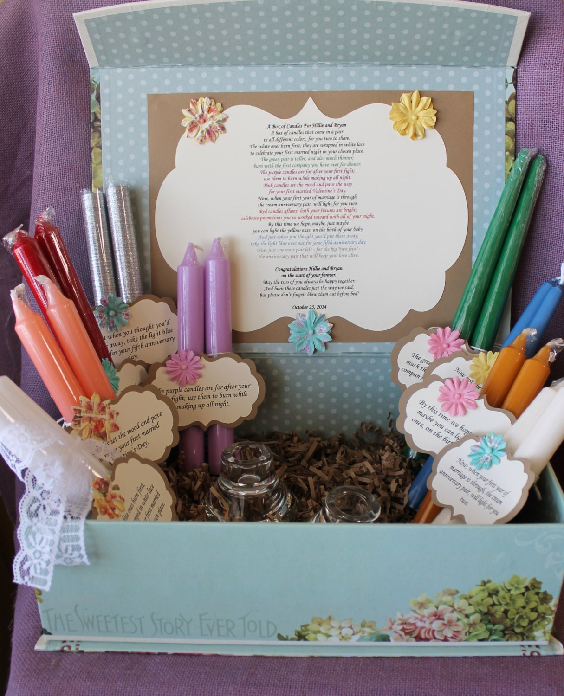 Wedding Gift Basket Etsy : Wedding Shower Candle Poem Gift Set. Bridal candle basket.