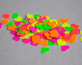 Handmade Neon Heart Confetti - Mixed colours - Neon Pink, Neon Green, Neon Orange, Neon Yellow, Neon Red