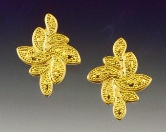 Floral - Earrings; Handcrafted, 22Karat Gold Granulation, 18Karat Gold Backs, 18Karat Gold Posts and Nuts.