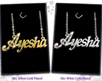 Name Necklace Ayesha  - 18K Gold Plated, Czech Rhinestones