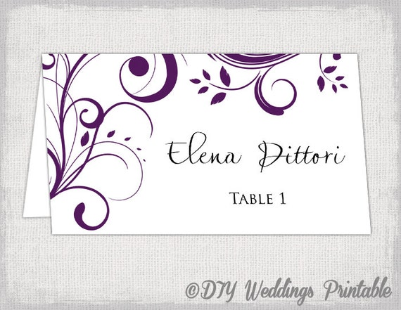 Place card template Eggplant Scroll name cards DIY – Word Name Card Template