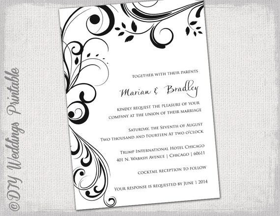 Wedding invitation templates black and white wedding invitation templates black and white scroll invitations you edit printable invite digital word template jpg instant download pronofoot35fo Gallery