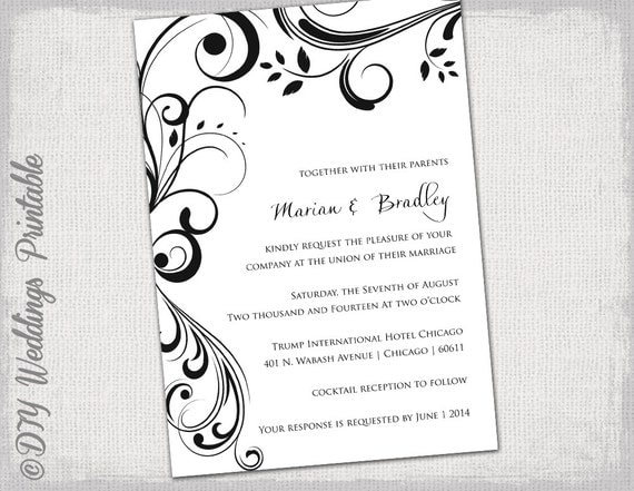 Wedding invitation templates black and white