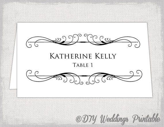 Printable place card template tent name card templates for Tent place card template