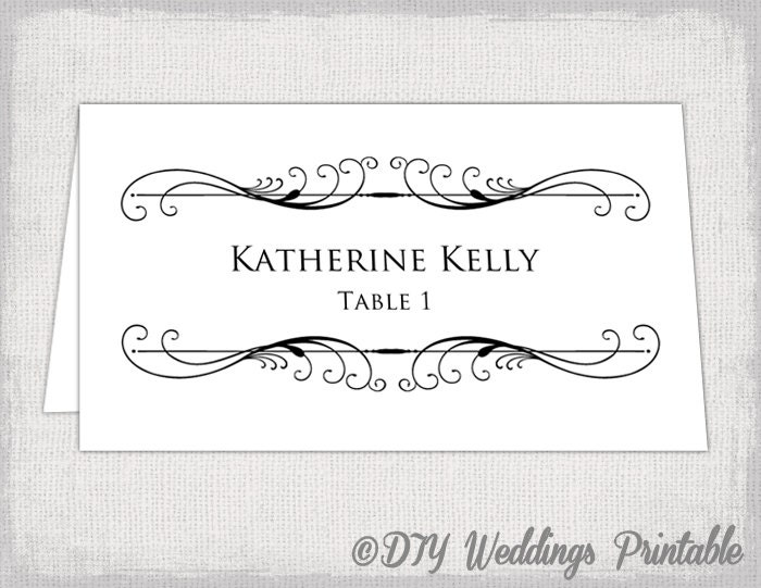 Printable Place card template Tent name by diyweddingsprintable