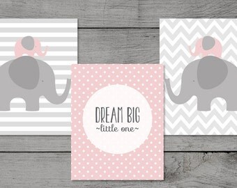 ON SALE Pink Elephant Nursery / Dream Big / Ballerina-Pink Nursery - ELP14 - Pink Grey Elephant / Instant Download