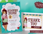 Custom Ice Cream Party Invite and Thank You Card