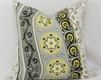 "Yellow, gray & black decorative throw pillow cover. 18"" x 18"" pillow cover. Accent pillow."