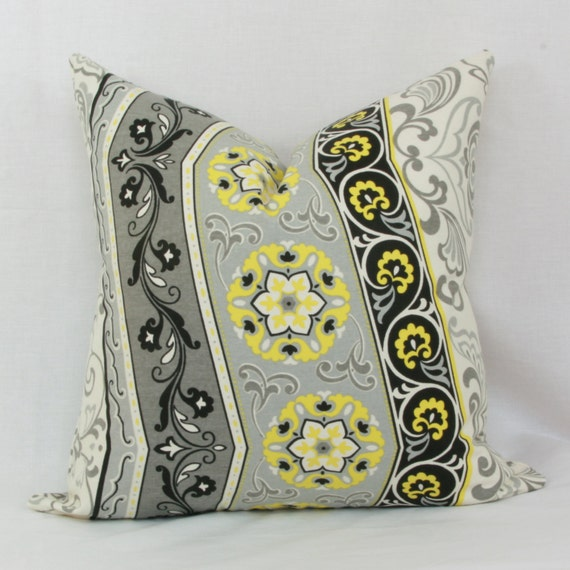 Yellow And Grey Throw Pillow Covers : Yellow gray & black decorative throw pillow cover. 18 x