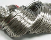 Steel Bracelet Memory Wire around 20 Gauge, Nickel Color 50 loops - #459