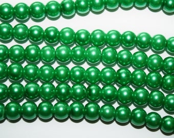 Kelly Green Glass Pearl Beads - 6mm - 70ct