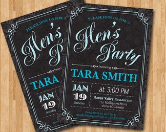 Blue Hens Party Invitation. Printable Bridal Shower. Bachelorette party invites. Any custom color DIY.