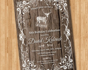 Deer Hunting Birthday Invitation for Men. Rustic Birthday Party Invite. 30th 40th 50th 60th 70th 80th 90th. Printable Digital DIY.