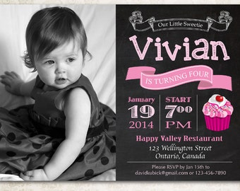 Chalkboard Cupcake Birthday Invitation. Baby girl 1st first birthday party invite. Any age bday invites with photo. Printable digital DIY.