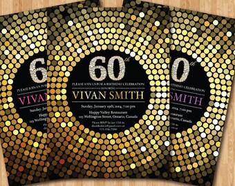 40th birthday invitation Gold Glitter Birthday Party invite