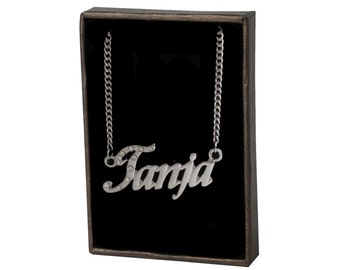 Name Necklace Tanja - Gold Plated 18ct Personalised Necklace with Czech Rhinestones